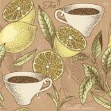 Fundo sem emenda do chá e do limão do vintage Imagens de Stock Royalty Free