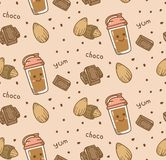 Fundo sem emenda do chocolate no vetor do estilo do kawaii ilustração stock