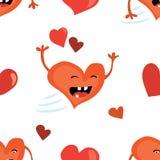 Fundo sem emenda do dia de Valentim com caráter vermelho engraçado do coração Textura telhada do feriado do vetor Projeto do pape Imagem de Stock Royalty Free