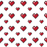 Fundo sem emenda do dia de Valentim dos corações do pixel Foto de Stock Royalty Free