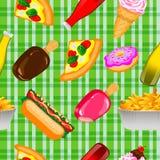 Fundo sem emenda do fast food Ilustração do Vetor