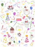 Fundo sem emenda do feliz aniversario Imagens de Stock