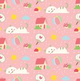 Fundo sem emenda do gato bonito no vetor do estilo do kawaii ilustração stock