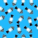 Fundo sem emenda do Natal com lanternas ilustração stock