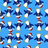 Fundo sem emenda do Natal com pinguins ilustração do vetor