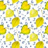 Fundo sem emenda do outono com folhas e números do amarelo Fotografia de Stock
