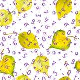 Fundo sem emenda do outono com folhas e números do amarelo Fotografia de Stock Royalty Free