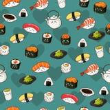 Fundo sem emenda do papel de parede do teste padrão do sushi Imagem de Stock Royalty Free