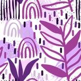 Fundo sem emenda do teste padrão criativo com elementos florais e texturas diferentes collage Projeto para o cartaz, cartão, conv ilustração stock