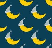 Fundo sem emenda do teste padrão da lua do sono Fotos de Stock