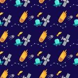 Fundo sem emenda do teste padrão da nave espacial dos planetas da aterrissagem do espaço Foto de Stock