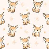 Fundo sem emenda do teste padrão da raposa bonito do fennec ilustração stock