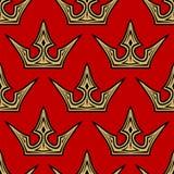 Fundo sem emenda do teste padrão das coroas douradas Foto de Stock Royalty Free