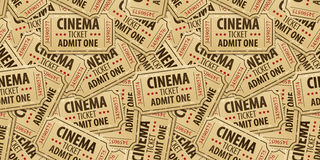 Fundo sem emenda do teste padrão de bilhetes do cinema Fotografia de Stock