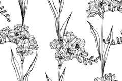 Fundo sem emenda do teste padrão de flor da frésia imagens de stock