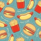Fundo sem emenda do teste padrão do fast food. Alimento do vetor   Fotografia de Stock