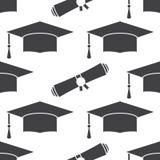 Fundo sem emenda do teste padrão do tampão e do diploma da graduação Imagens de Stock