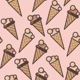 Fundo sem emenda do teste padrão dos cones de gelado, ilustração colorida ilustração stock