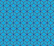 fundo sem emenda do teste padrão dos cubos geométricos azuis do sumário do contorno 3d Imagem de Stock Royalty Free