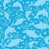 Fundo sem emenda do teste padrão dos golfinhos azuis do divertimento Imagens de Stock
