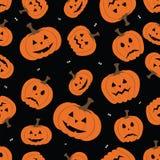 Fundo sem emenda do teste padrão dos símbolos do horror de Halloween Fotografia de Stock Royalty Free