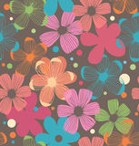 Fundo sem emenda do teste padrão floral da margarida com flores ilustração stock