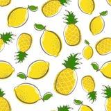 Fundo sem emenda do teste padrão do fruto amarelo do abacaxi do limão ilustração stock