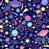 Fundo sem emenda do teste padrão do vetor do céu do cosmos do espaço ilustração stock