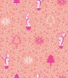 Fundo sem emenda do teste padrão do vetor mínimo moderno corajoso bonito do boneco de neve dos cactos de Natal do rosa ilustração royalty free