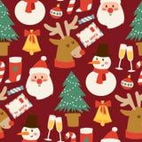 Fundo sem emenda do teste padrão do vetor do Natal para o projeto da celebração do ano novo do inverno do cartão Fotos de Stock