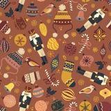 Fundo sem emenda do teste padrão do vetor do Natal do vintage Quebra-nozes, chapéu, mitenes, meia, bastão de doces, pássaro, orna ilustração do vetor