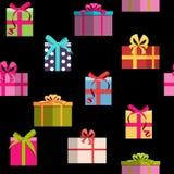 Fundo sem emenda do teste padrão do feriado da caixa de presente Foto de Stock Royalty Free