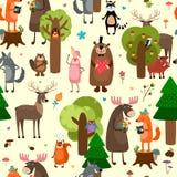 Fundo sem emenda do teste padrão dos animais felizes da floresta Fotos de Stock Royalty Free