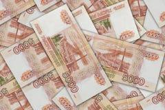 Fundo sem emenda do valor nominal das cédulas do banco de russo para cinco mil Imagem de Stock