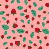 Fundo sem emenda do ver?o com as morangos no estilo dos desenhos animados Morangos e folhas vermelhas do verde ilustração stock