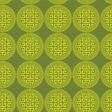 Fundo sem emenda do verde redondo chave grego dos círculos Foto de Stock Royalty Free