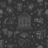 Fundo sem emenda do vetor com símbolos do teatro Imagem de Stock