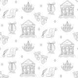 Fundo sem emenda do vetor com símbolos do teatro Fotos de Stock