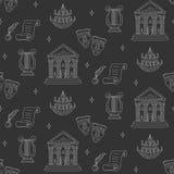 Fundo sem emenda do vetor com símbolos do teatro Imagens de Stock