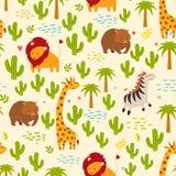 Fundo sem emenda do vetor dos animais Girafa, zebra, fascolomo e cacto Imagens de Stock Royalty Free