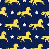 Fundo sem emenda do vetor dos cavalos e das estrelas Bonito, amável, teste padrão do conto de fadas para o projeto de empacotamen Foto de Stock Royalty Free