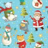 Fundo sem emenda do vetor dos desenhos animados do Natal Fotos de Stock Royalty Free