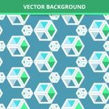 Fundo sem emenda do vetor Quadrados tridimensionais do teste padrão abstrato Fotografia de Stock