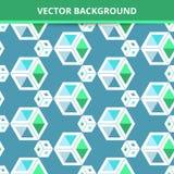 Fundo sem emenda do vetor Quadrados tridimensionais do teste padrão abstrato Imagem de Stock