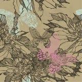 Fundo sem emenda do vintage com flores e borboletas Vetor Imagens de Stock