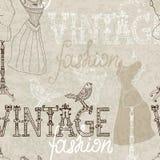 Fundo sem emenda do vintage com manequim retro Fotografia de Stock Royalty Free