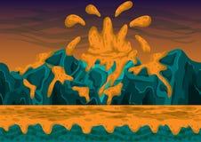 Fundo sem emenda do vulcão do vetor dos desenhos animados com camadas separadas Fotos de Stock