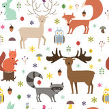 Fundo sem emenda dos animais da floresta Textura lisa dos animais do estilo Ilustração do vetor ilustração do vetor