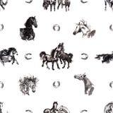 Fundo sem emenda dos cavalos ilustração royalty free