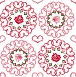 Fundo sem emenda dos corações e das rosas Ilustração Royalty Free